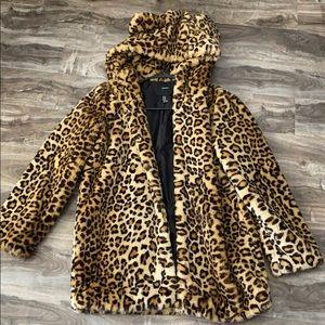Leopard Faux Fur Hooded Jacket